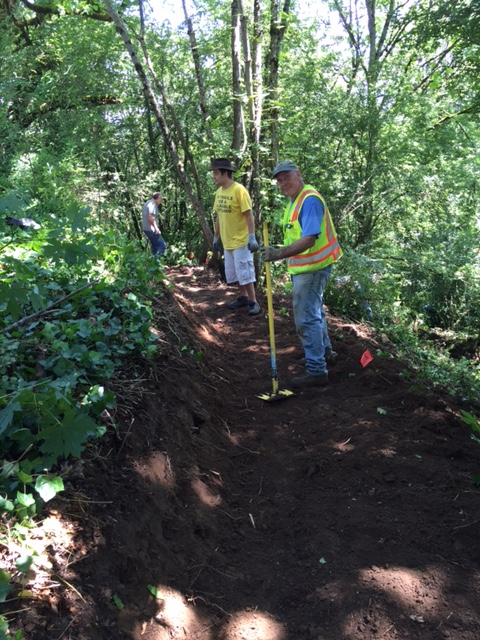 SW Trails volunteers replaced a steep section of the trail with a more gradual grade.  This trail goes from Woods Street up to Terwilliger just below OHSU's Casey Eye Institute.