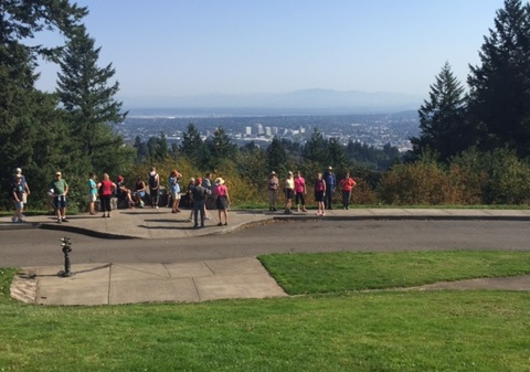 SW Trails hikers at Council Crest, the high point on the 4T Trail.
