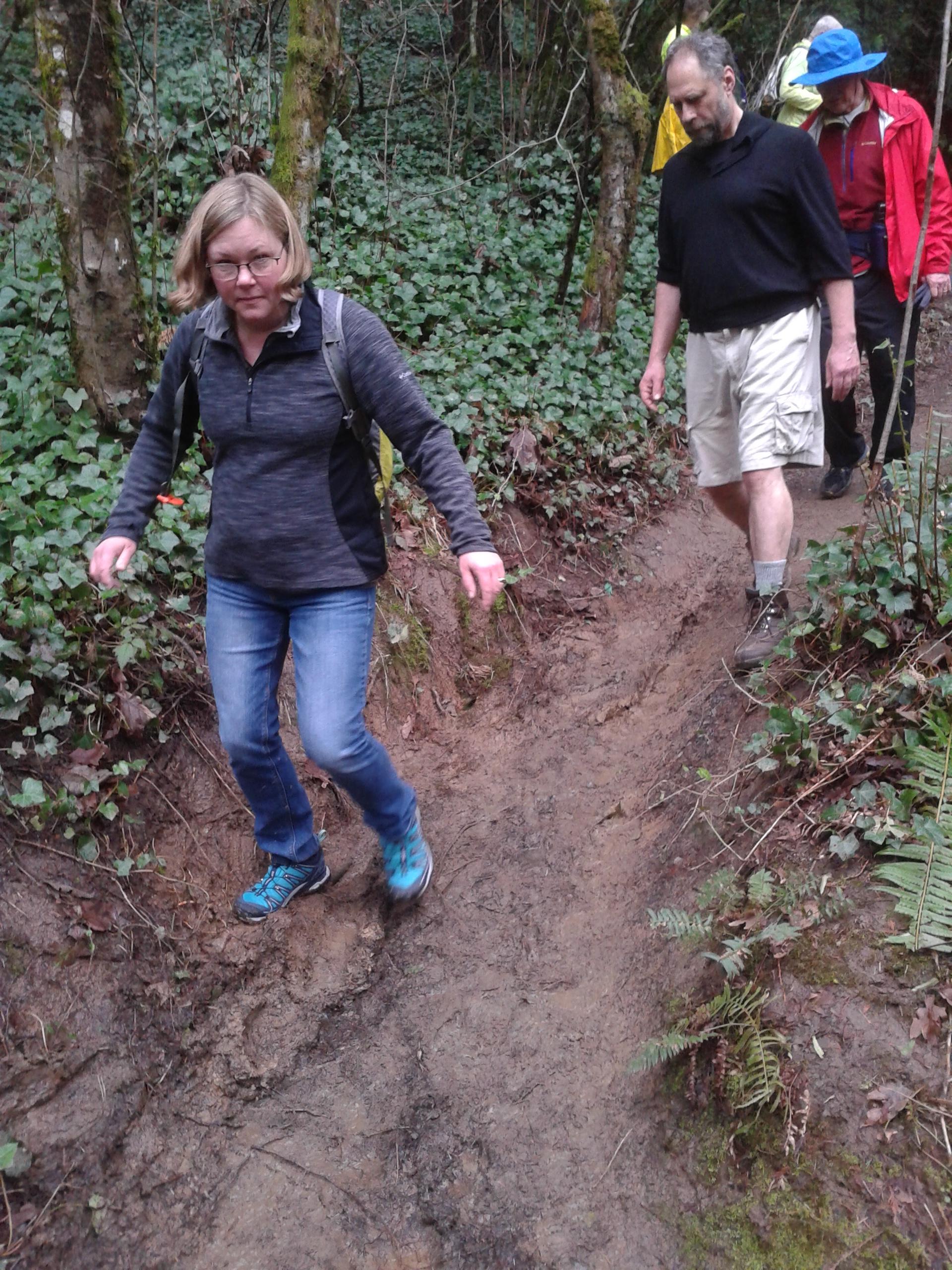 Rare muddy stretch of trail in Marquam Nature Park
