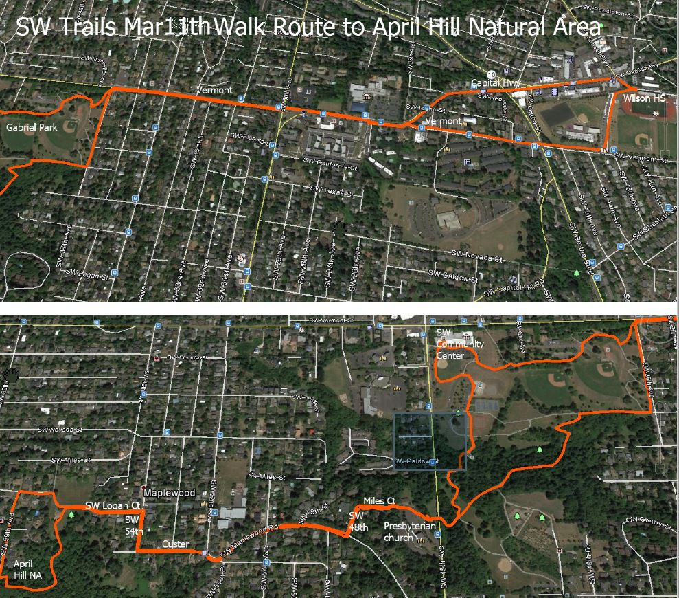 SW Trails Mar11th Walk route to April Hill Natural Area