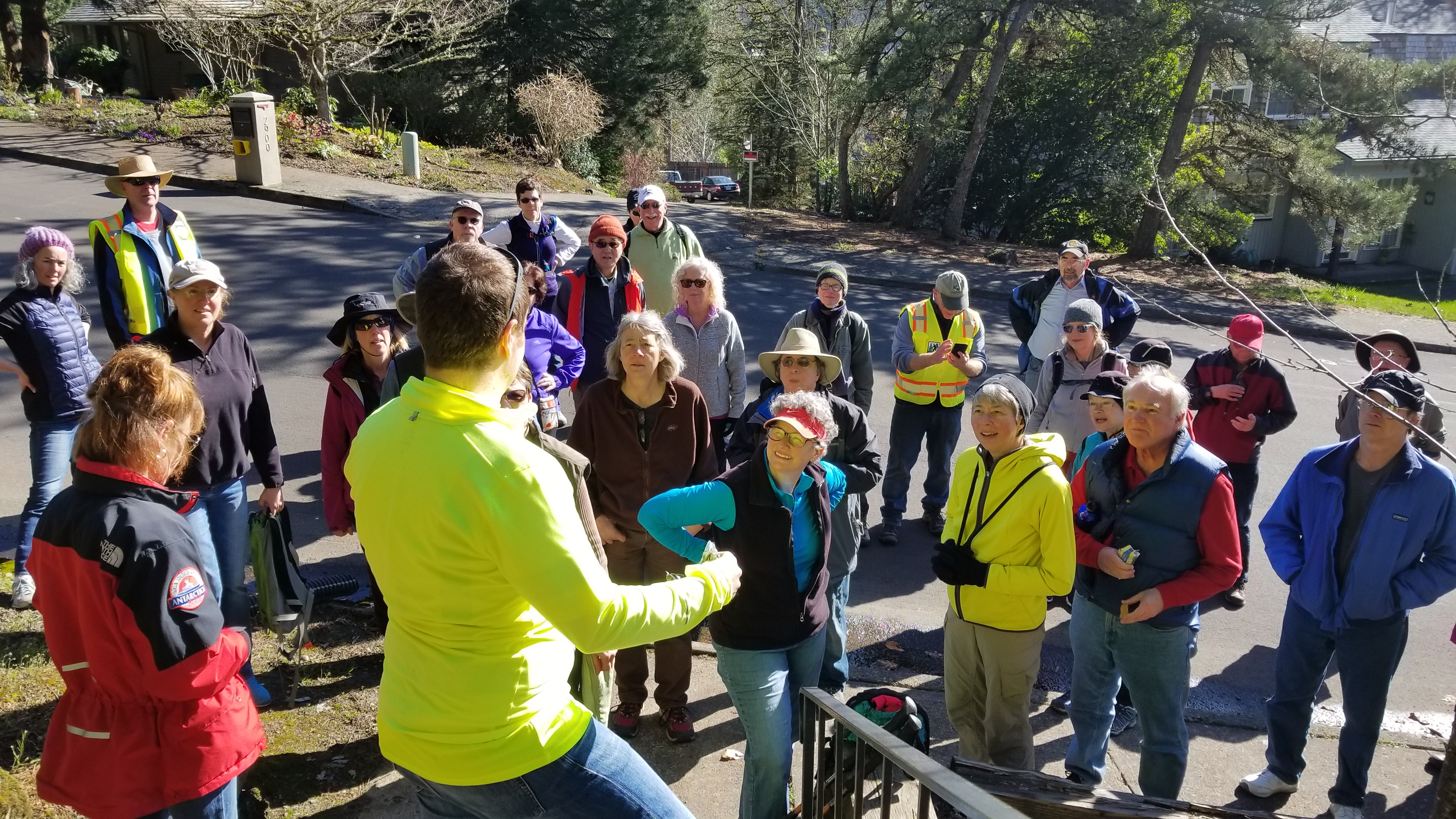 Rick Kappler told the SW Trails hiking group about the history of the stairs.