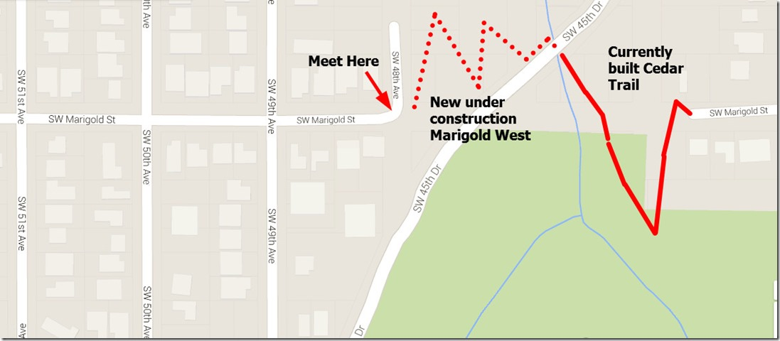 Map of where work party will build trail in Woods Park