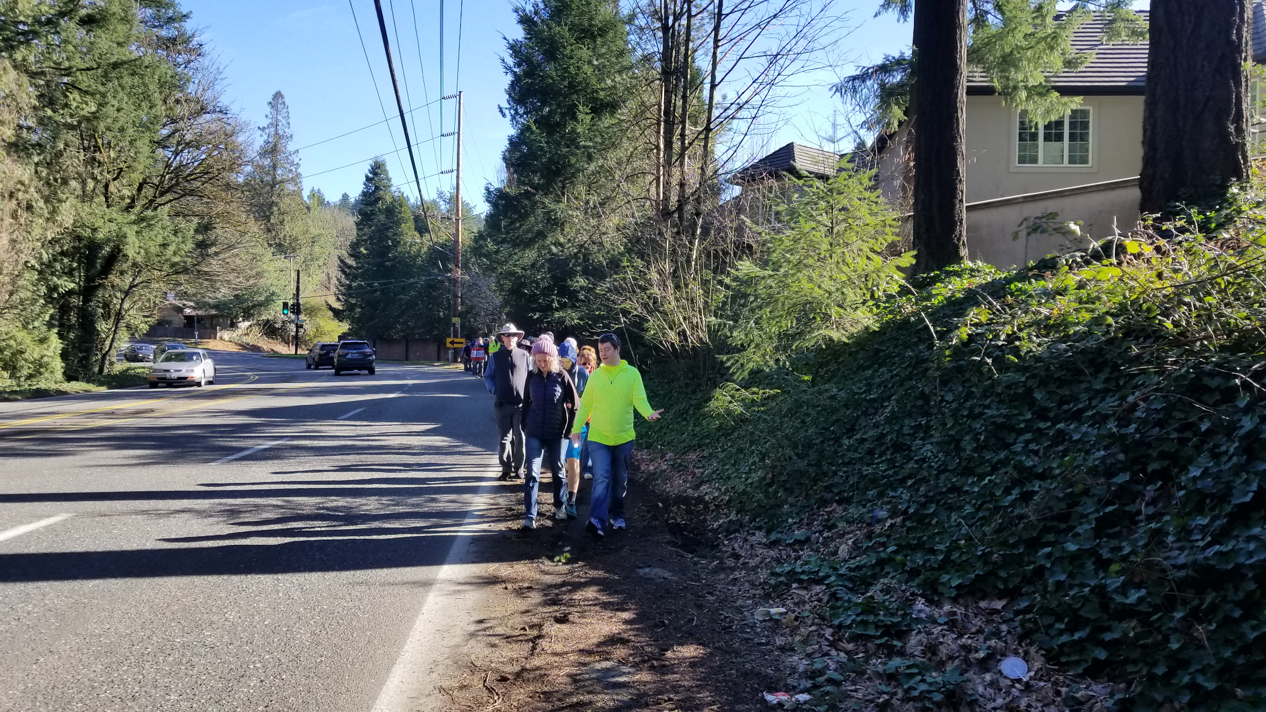 Walking on SW Scholls Ferry road without a sidewalk or shoulder